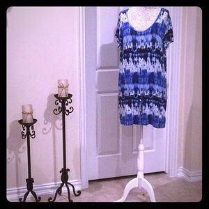 Michael Kors Blue Watercolor Tunic Coverup Size 1X